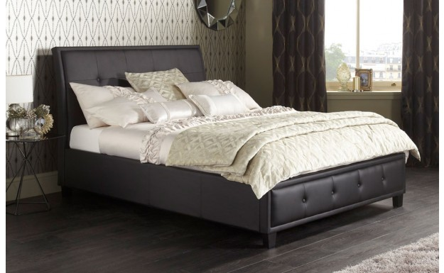 new concept 22da0 8fd84 Serene Catania Black Faux Leather Double Bed Frame