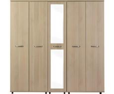 Solo Light Oak 5 Door Wardrobe with Centre Mirror