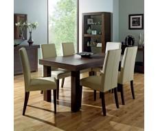 Akita Walnut Six Seat Panel Dining Set - Tapered Back Ivory Chairs