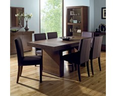 Akita Walnut Six Seat Panel Dining Set - Square Back Brown Chairs