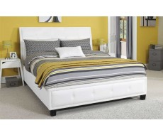 Serene Catania White Faux Leather King Size Bed Frame