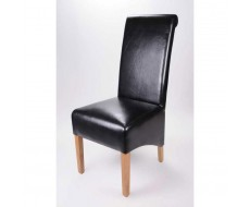 Krista Black Leather Dining Chair