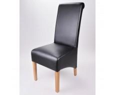 Krista Soft Black Madras Leather Dining Chair