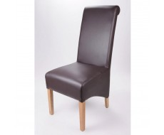 Krista Soft Brown Madras Leather Dining Chair