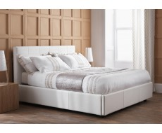 Serene Lucca White Faux Leather Ottoman Bed Frame