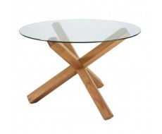 Bentley Designs Lyon Oak Round Glass Top Dining Table
