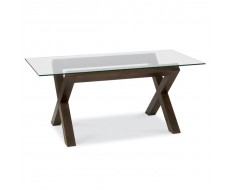 Bentley Designs Lyon Walnut Glass Top Dining Table