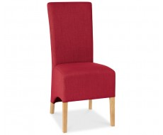 Bentley Designs Nina Oak Wing Back Red Fabric Dining Chair