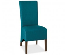 Bentley Designs Nina Walnut Wing Back Teal Fabric Dining Chair