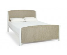 Serene Shelly Latte White Fabric King Size Bed Frame
