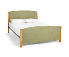 Serene Shelly Mint Oak Fabric Double Bed Frame