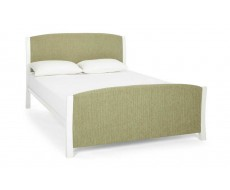 Serene Shelly Mint White Fabric King Size Bed Frame