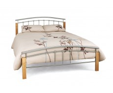 Serene Tetras Silver/White Small Double Metal Bed Frame