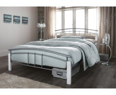 Serene Tetras Silver Double Metal Bed Frame